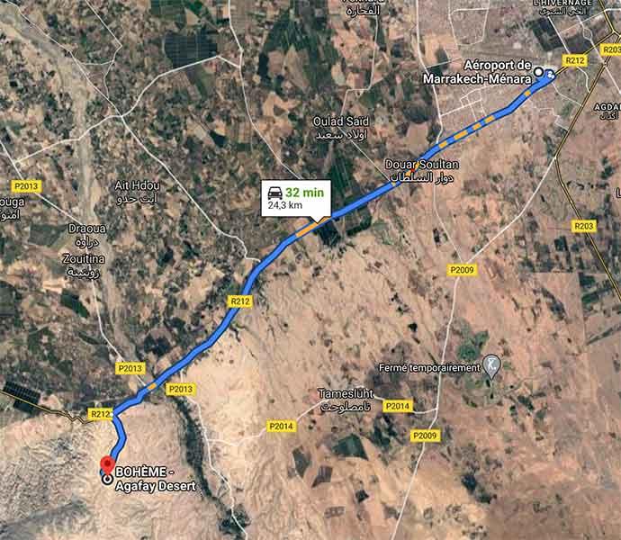 Trajet depuis aéroport de Marrakech jusqu'à Bohème Agafay Desert