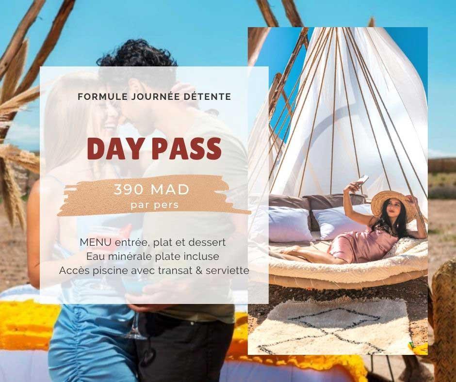 Day pass La Bohème Marrakech: piscine et restaurant en plein air Agafay